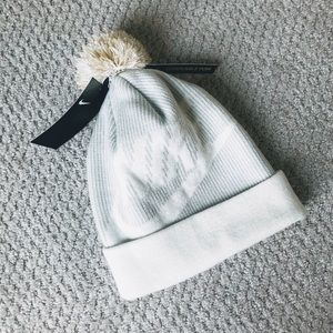 Nike Accessories - NIKE Pom Pom Pompom Knit Beanie White + Gold